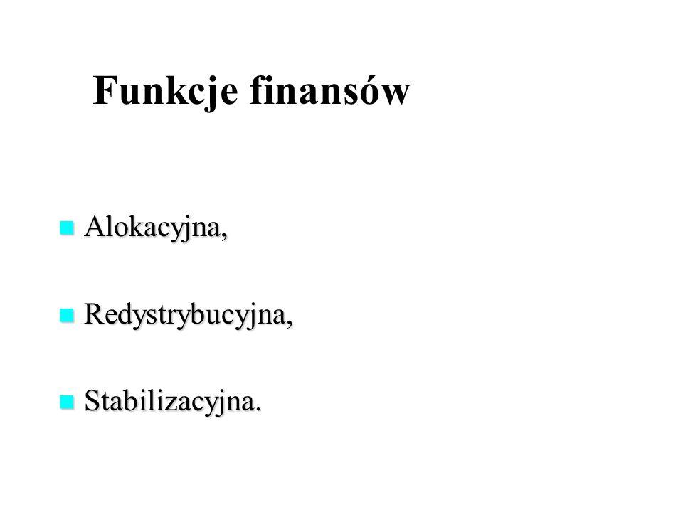 Funkcje finansów Alokacyjna, Alokacyjna, Redystrybucyjna, Redystrybucyjna, Stabilizacyjna.