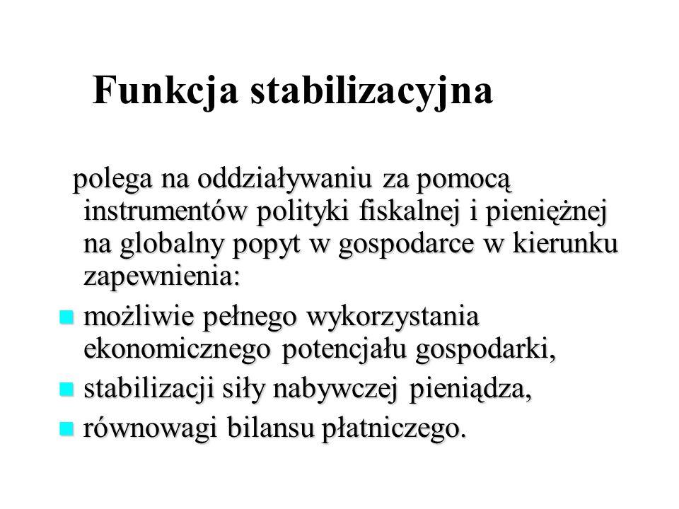 Funkcja stabilizacyjna polega na oddziaływaniu za pomocą instrumentów polityki fiskalnej i pieniężnej na globalny popyt w gospodarce w kierunku zapewnienia: polega na oddziaływaniu za pomocą instrumentów polityki fiskalnej i pieniężnej na globalny popyt w gospodarce w kierunku zapewnienia: możliwie pełnego wykorzystania ekonomicznego potencjału gospodarki, możliwie pełnego wykorzystania ekonomicznego potencjału gospodarki, stabilizacji siły nabywczej pieniądza, stabilizacji siły nabywczej pieniądza, równowagi bilansu płatniczego.
