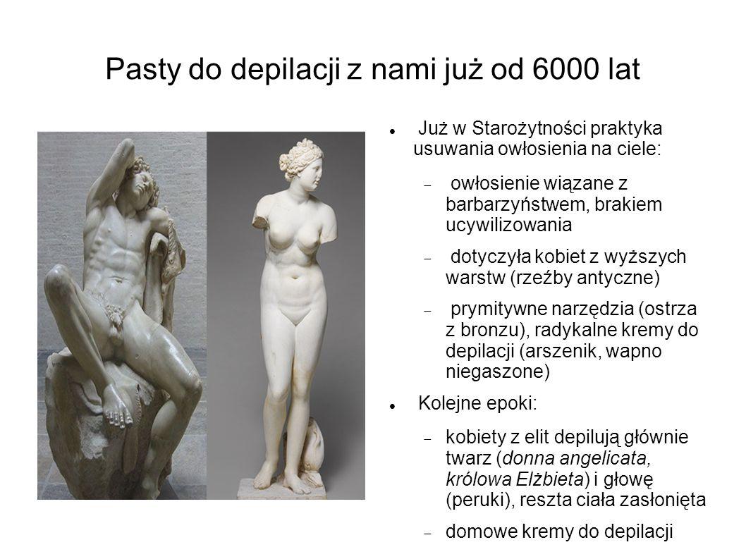 Pasty do depilacji z nami już od 6000 lat Już w Starożytności praktyka usuwania owłosienia na ciele:  owłosienie wiązane z barbarzyństwem, brakiem uc