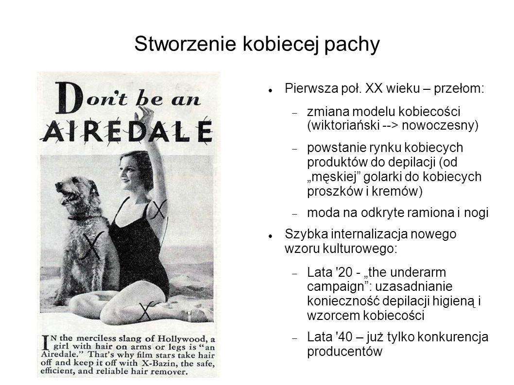 Stworzenie kobiecej pachy Pierwsza poł. XX wieku – przełom:  zmiana modelu kobiecości (wiktoriański --> nowoczesny)  powstanie rynku kobiecych prod