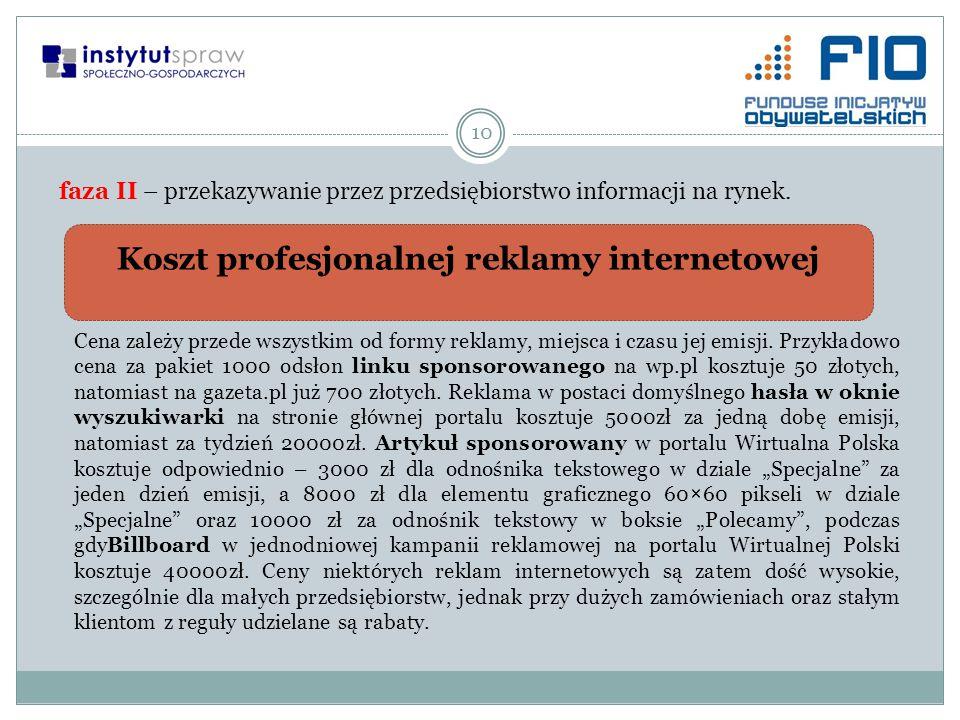 Koszt profesjonalnej reklamy internetowej 10 faza II – przekazywanie przez przedsiębiorstwo informacji na rynek. Cena zależy przede wszystkim od formy