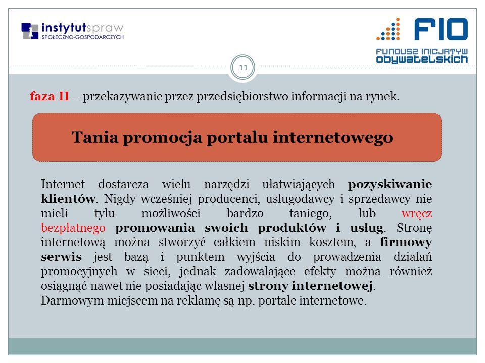 11 faza II – przekazywanie przez przedsiębiorstwo informacji na rynek. Tania promocja portalu internetowego Internet dostarcza wielu narzędzi ułatwiaj