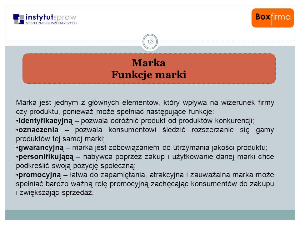 Marka Funkcje marki 18 Marka jest jednym z głównych elementów, który wpływa na wizerunek firmy czy produktu, ponieważ może spełniać następujące funkcj