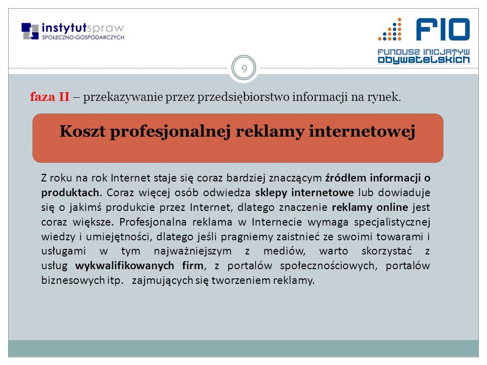 Koszt profesjonalnej reklamy internetowej 9 faza II – przekazywanie przez przedsiębiorstwo informacji na rynek. Z roku na rok Internet staje się coraz