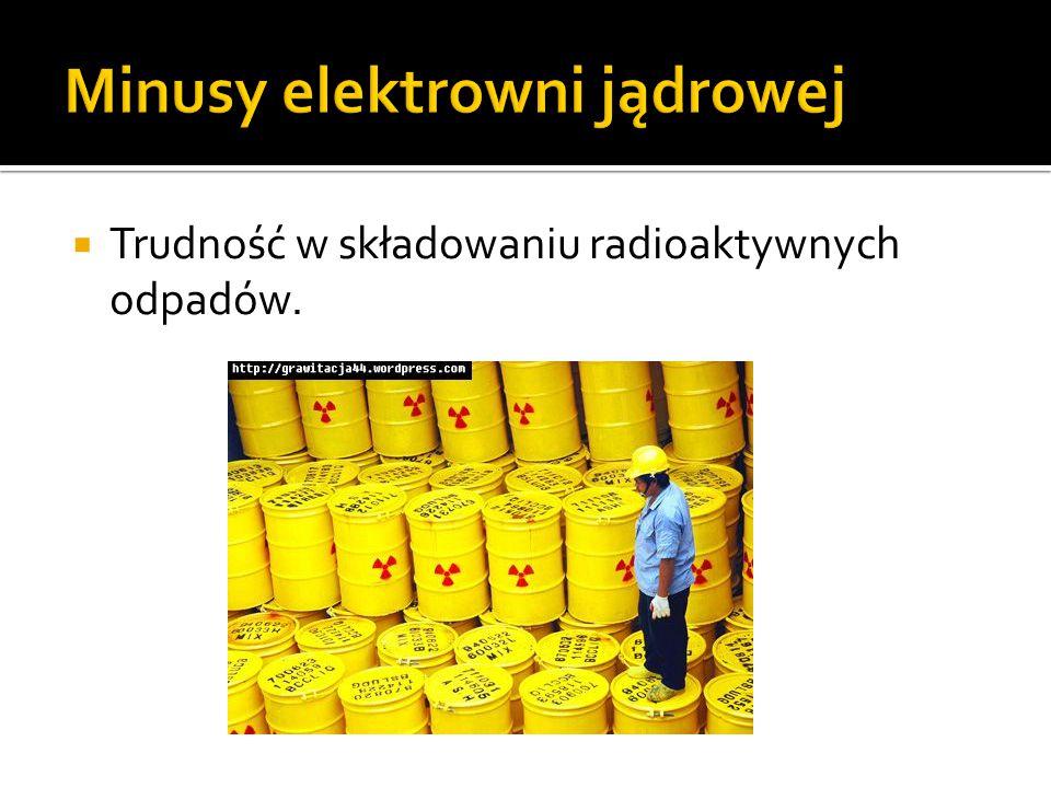  Trudność w składowaniu radioaktywnych odpadów.