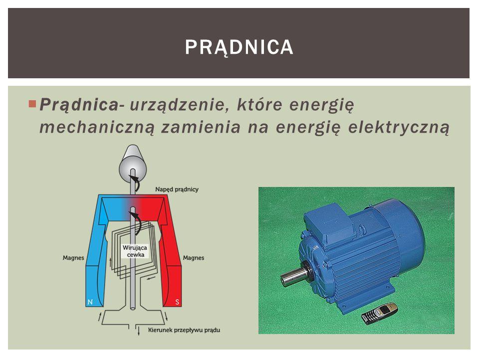  Prądnica- urządzenie, które energię mechaniczną zamienia na energię elektryczną PRĄDNICA
