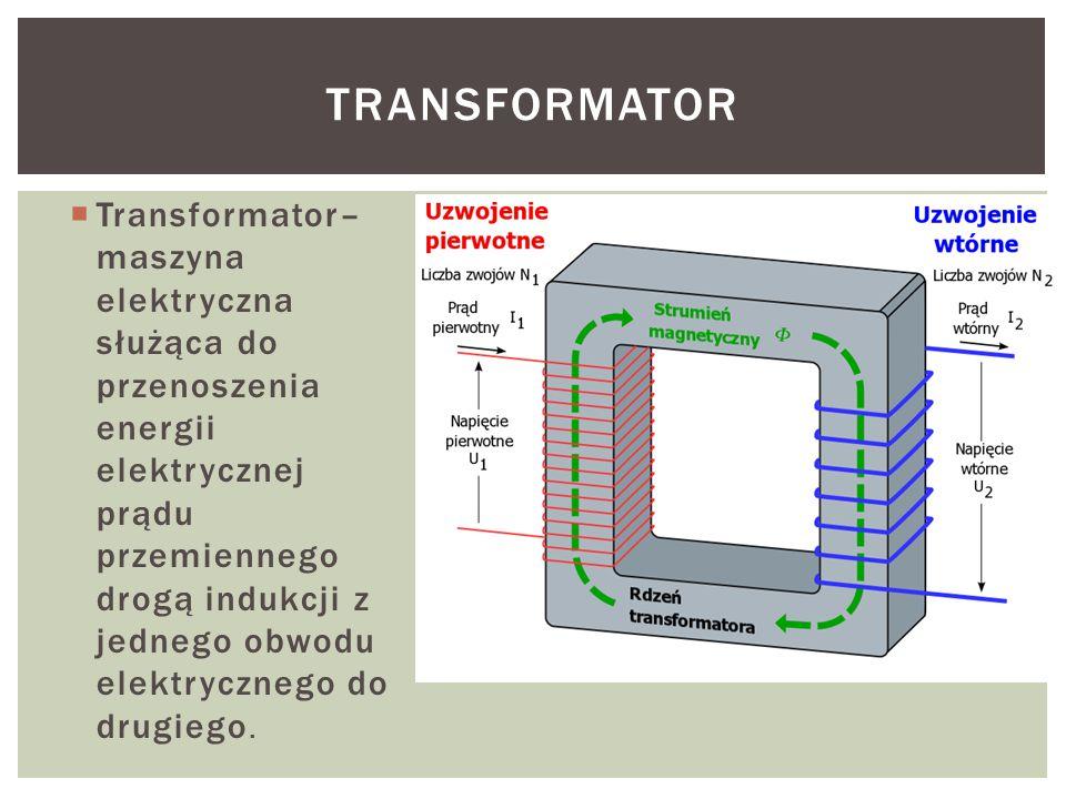  Transformator– maszyna elektryczna służąca do przenoszenia energii elektrycznej prądu przemiennego drogą indukcji z jednego obwodu elektrycznego do