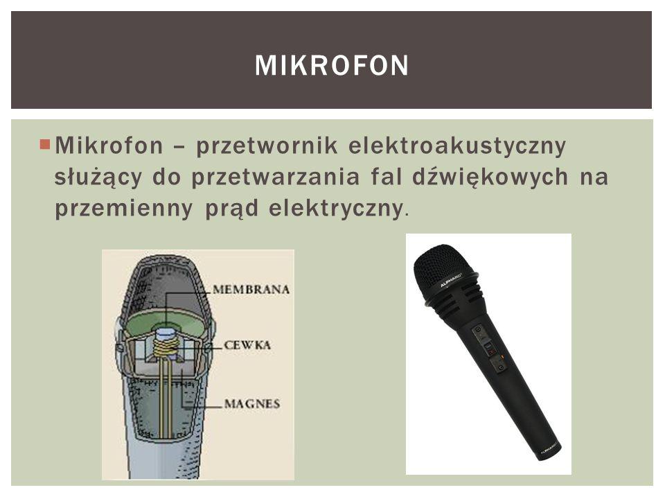  Mikrofon – przetwornik elektroakustyczny służący do przetwarzania fal dźwiękowych na przemienny prąd elektryczny. MIKROFON