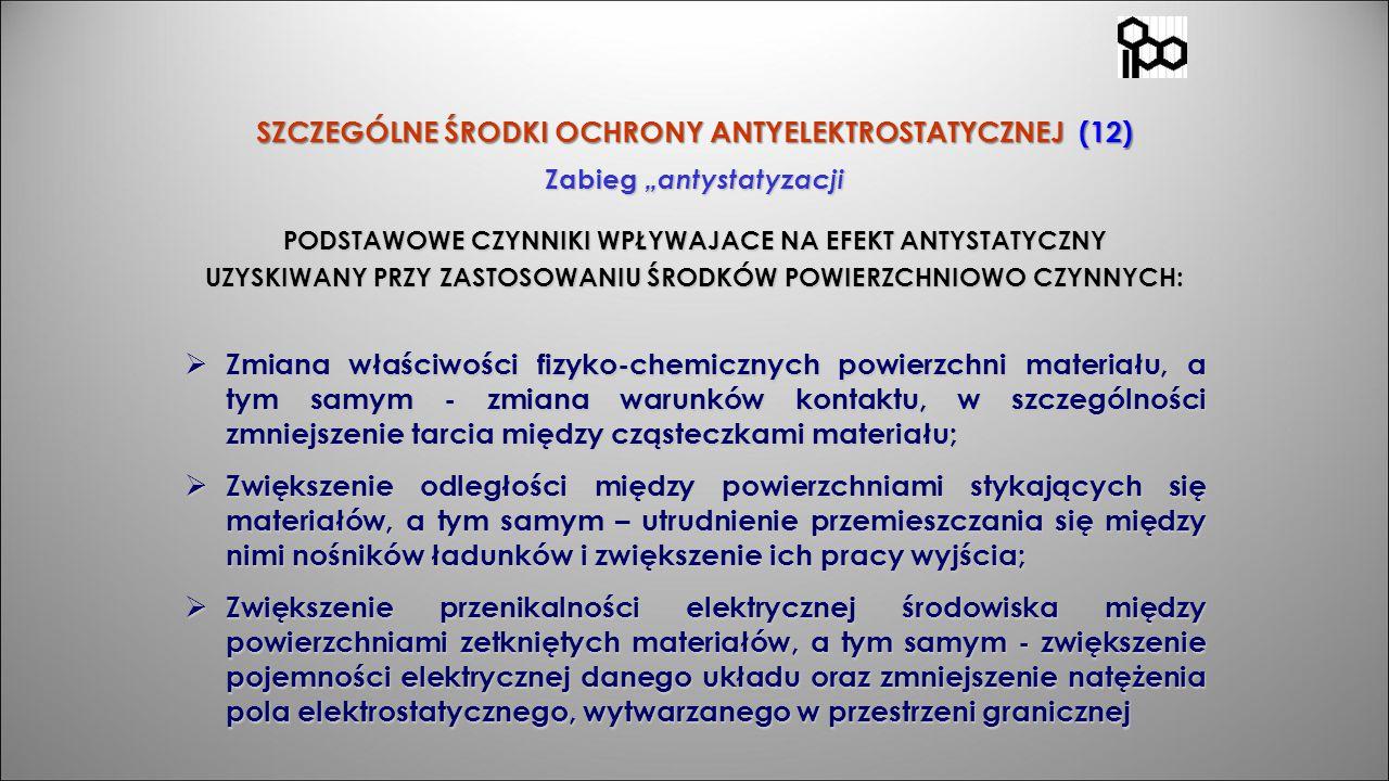 """SZCZEGÓLNE ŚRODKI OCHRONY ANTYELEKTROSTATYCZNEJ (12) Zabieg """"antystatyzacji PODSTAWOWE CZYNNIKI WPŁYWAJACE NA EFEKT ANTYSTATYCZNY UZYSKIWANY PRZY ZAST"""