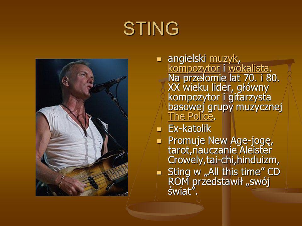 STING angielski muzyk, kompozytor i wokalista. Na przełomie lat 70. i 80. XX wieku lider, główny kompozytor i gitarzysta basowej grupy muzycznej The P