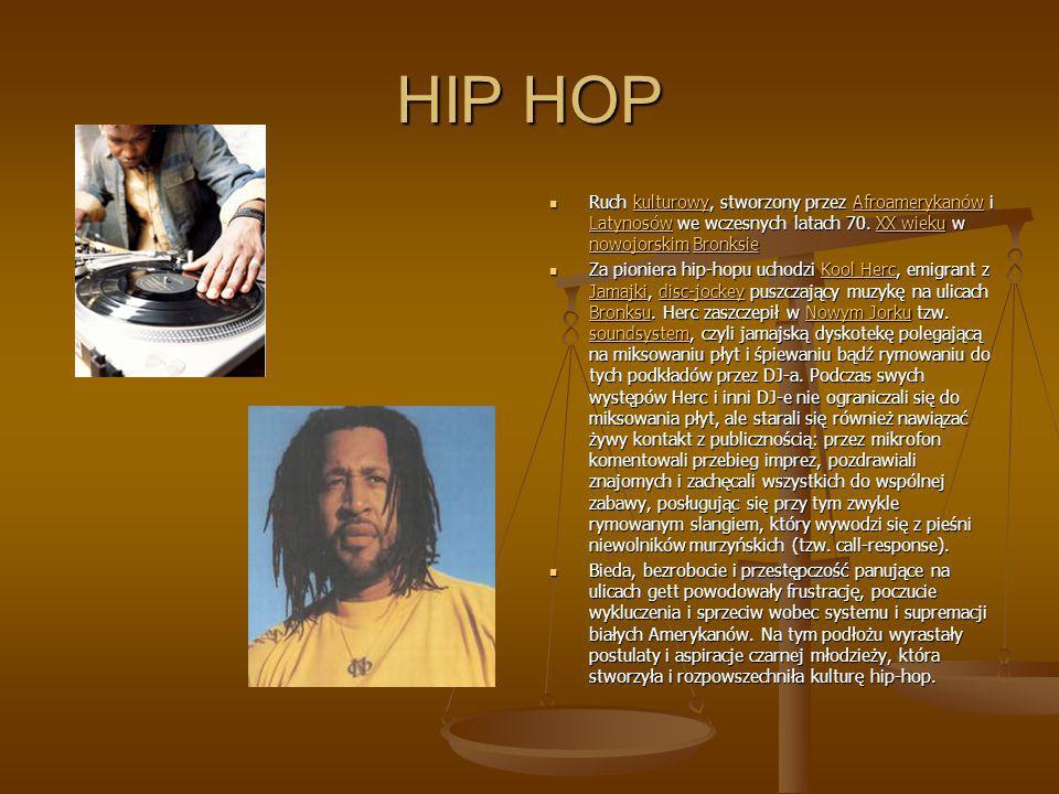 HIP HOP Ruch kulturowy, stworzony przez Afroamerykanów i Latynosów we wczesnych latach 70. XX wieku w nowojorskim BronksiekulturowyAfroamerykanów Laty