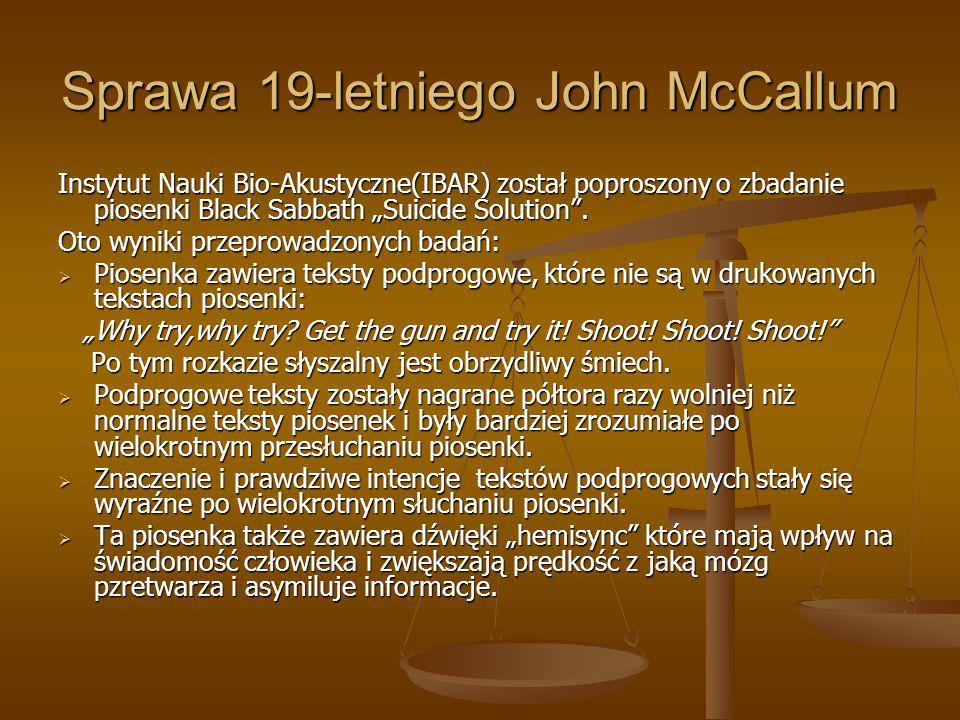 """Sprawa 19-letniego John McCallum Instytut Nauki Bio-Akustyczne(IBAR) został poproszony o zbadanie piosenki Black Sabbath """"Suicide Solution"""". Oto wynik"""
