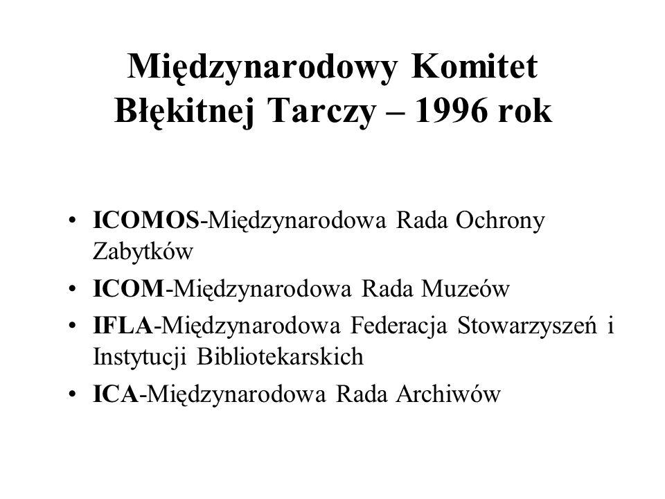 Międzynarodowy Komitet Błękitnej Tarczy – 1996 rok ICOMOS-Międzynarodowa Rada Ochrony Zabytków ICOM-Międzynarodowa Rada Muzeów IFLA-Międzynarodowa Fed