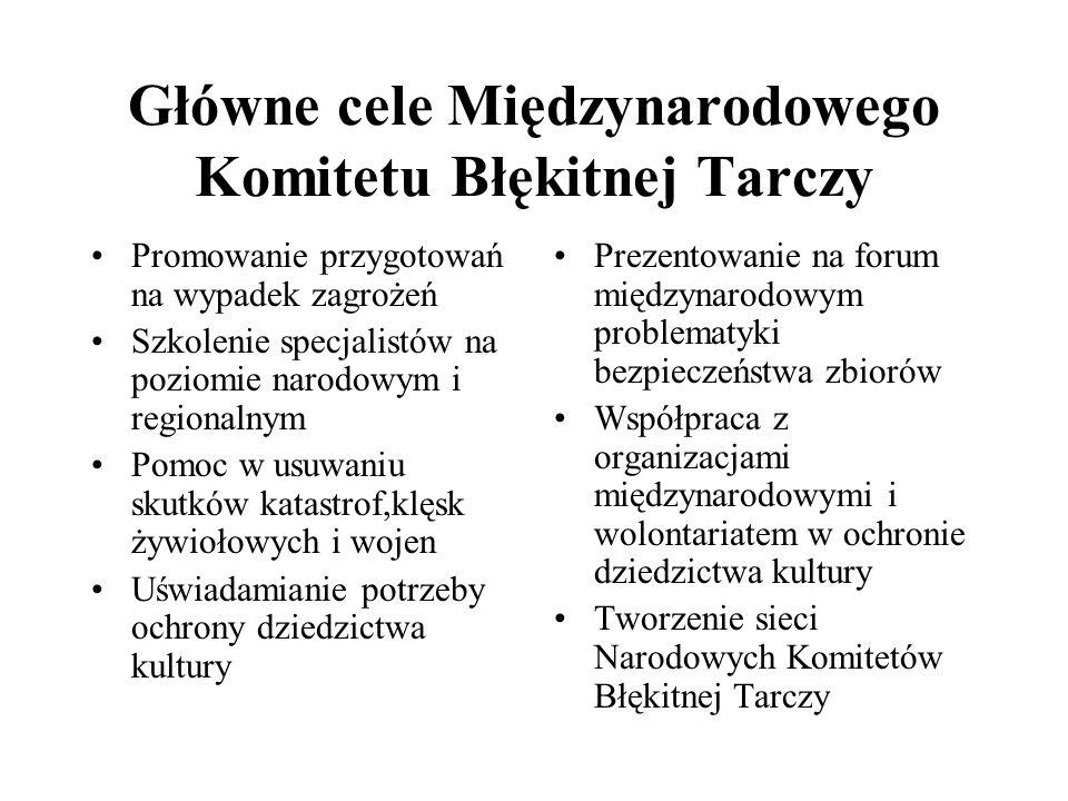 Główne cele Międzynarodowego Komitetu Błękitnej Tarczy Promowanie przygotowań na wypadek zagrożeń Szkolenie specjalistów na poziomie narodowym i regio