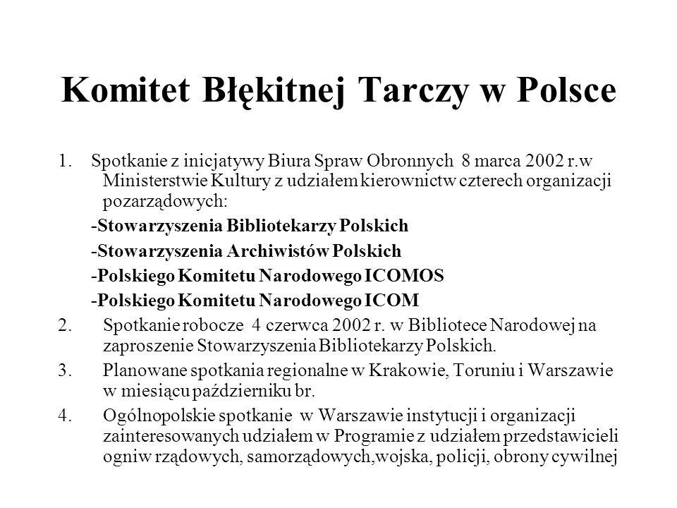 Komitet Błękitnej Tarczy w Polsce 1. Spotkanie z inicjatywy Biura Spraw Obronnych 8 marca 2002 r.w Ministerstwie Kultury z udziałem kierownictw cztere
