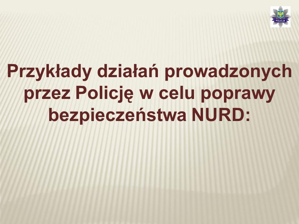 Przykłady działań prowadzonych przez Policję w celu poprawy bezpieczeństwa NURD: