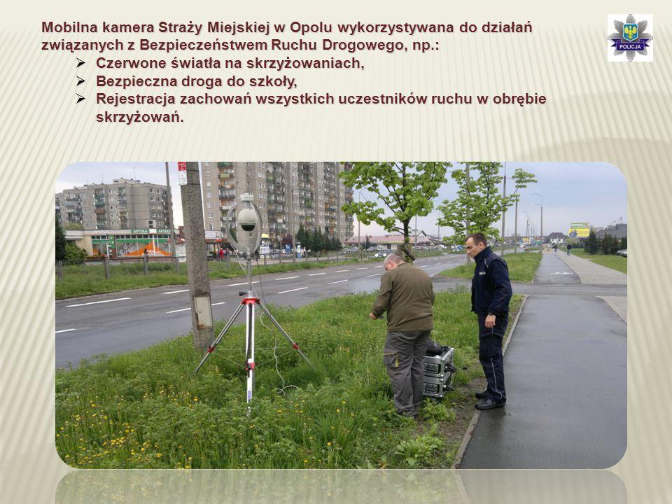 Mobilna kamera Straży Miejskiej w Opolu wykorzystywana do działań związanych z Bezpieczeństwem Ruchu Drogowego, np.:  Czerwone światła na skrzyżowani