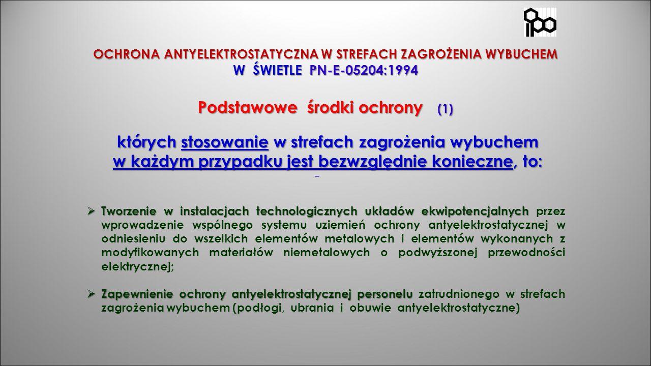 OCHRONA ANTYELEKTROSTATYCZNA W STREFACH ZAGROŻENIA WYBUCHEM W ŚWIETLE PN-E-05204:1994 Podstawowe środki ochrony (1) których stosowanie w strefach zagr