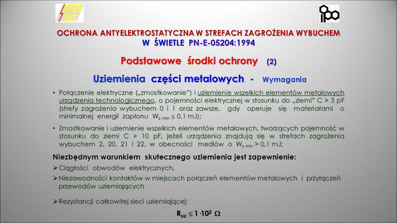 OCHRONA ANTYELEKTROSTATYCZNA W STREFACH ZAGROŻENIA WYBUCHEM W ŚWIETLE PN-E-05204:1994 Podstawowe środki ochrony (2) Uziemienia części metalowych - Wym