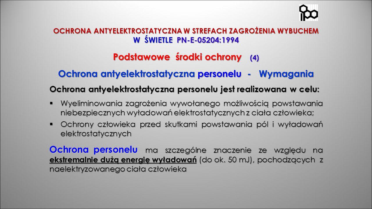 OCHRONA ANTYELEKTROSTATYCZNA W STREFACH ZAGROŻENIA WYBUCHEM W ŚWIETLE PN-E-05204:1994 Podstawowe środki ochrony (4) Ochrona antyelektrostatyczna perso
