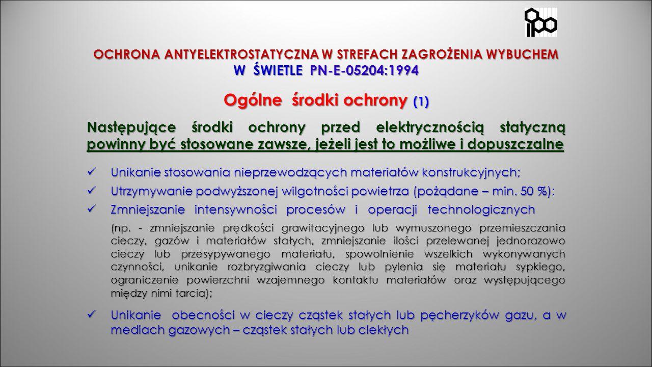 OCHRONA ANTYELEKTROSTATYCZNA W STREFACH ZAGROŻENIA WYBUCHEM W ŚWIETLE PN-E-05204:1994 Ogólne środki ochrony (1) Następujące środki ochrony przed elekt