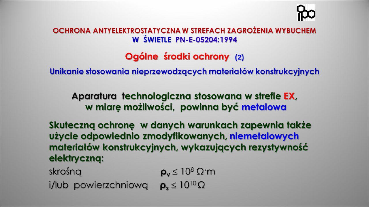 OCHRONA ANTYELEKTROSTATYCZNA W STREFACH ZAGROŻENIA WYBUCHEM W ŚWIETLE PN-E-05204:1994 Ogólne środki ochrony (2) Unikanie stosowania nieprzewodzących m