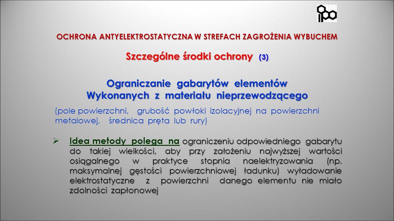 OCHRONA ANTYELEKTROSTATYCZNA W STREFACH ZAGROŻENIA WYBUCHEM Szczególne środki ochrony (3) Ograniczanie gabarytów elementów Wykonanych z materiału niep