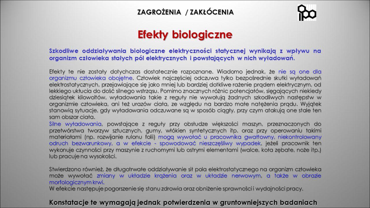 ZAGROŻENIA / ZAKŁÓCENIA ZAGROŻENIA / ZAKŁÓCENIA Efekty biologiczne Szkodliwe oddziaływania biologiczne elektryczności statycznej wynikają z wpływu na