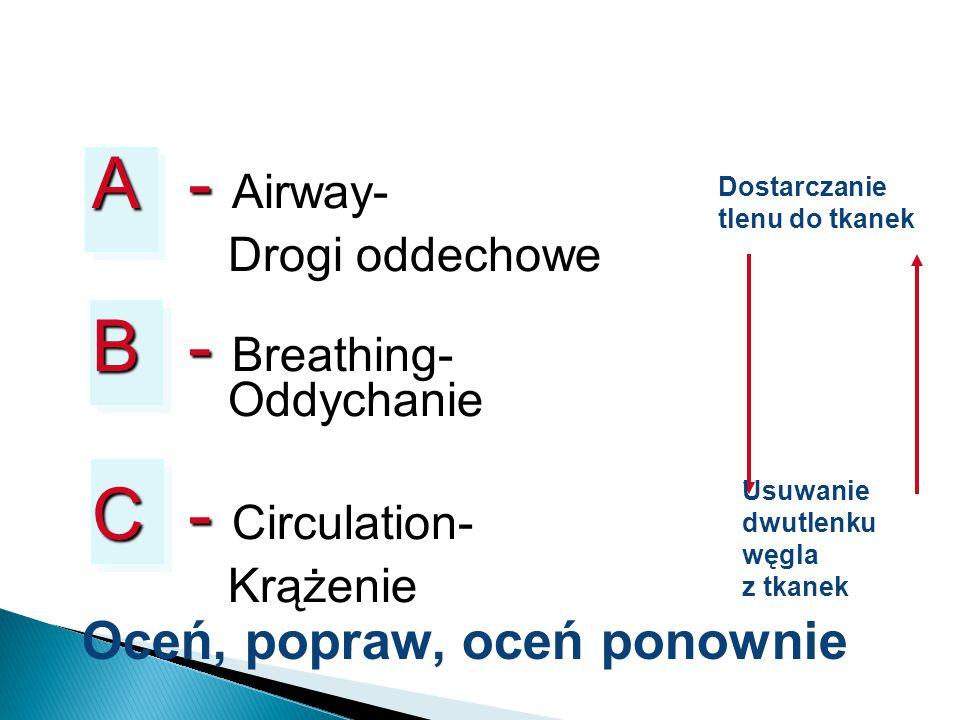 Dostarczanie tlenu do tkanek Usuwanie dwutlenku węgla z tkanek Oceń, popraw, oceń ponownie A- A- Airway- Drogi oddechowe B- B- Breathing- Oddychanie C