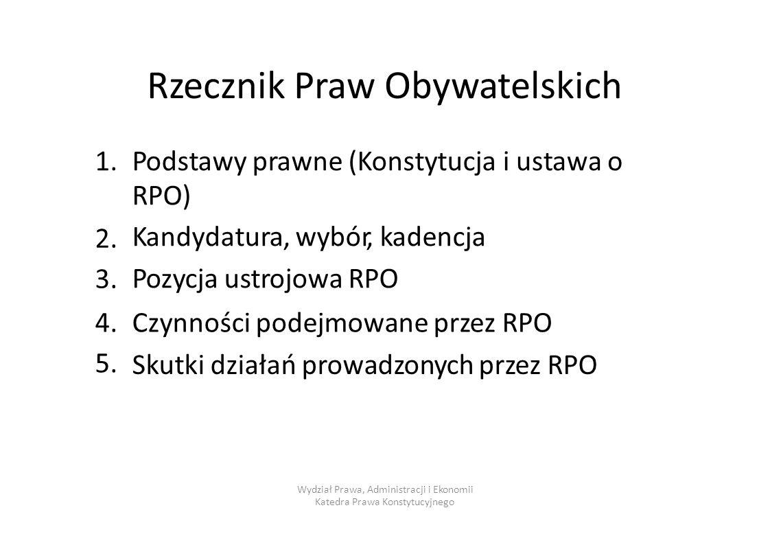 Rzecznik Praw Obywatelskich 1.1.Podstawy prawne (Konstytucja RPO) Kandydatura, wybór, kadencja Pozycja ustrojowa RPO i ustawao 2.3.2.3. 4.5.4.5. Czynn