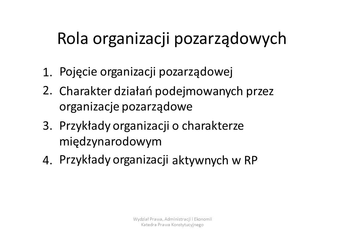 Rola organizacji pozarządowych Pojęcie organizacji pozarządowej 1.2.1.2. Charakter działań podejmowanych organizacje pozarządowe przezprzez 3.3.Przykł