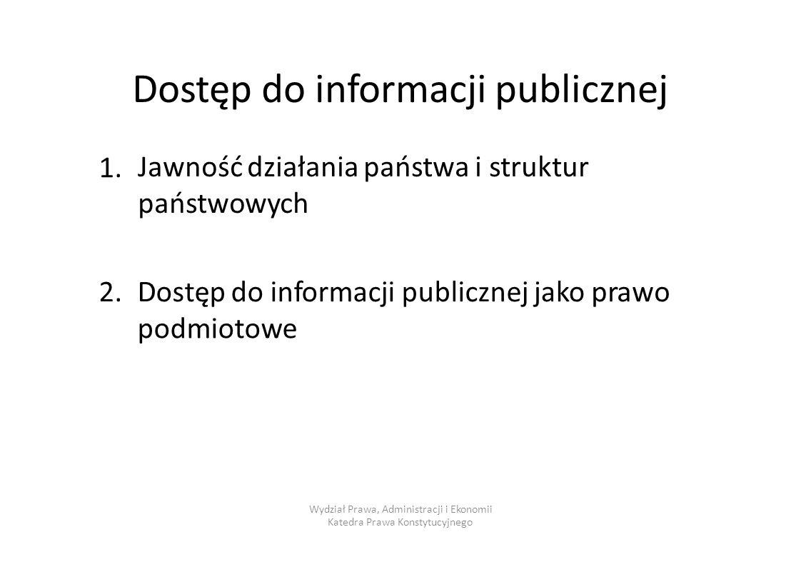 Dostęp do informacji publicznej Jawność działania państwa i struktur państwowych 1.1. 2.2.Dostęp do informacjipublicznejjakoprawo podmiotowe Wydział P
