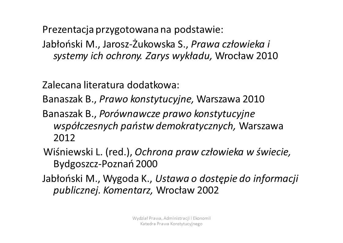 Prezentacja przygotowana na podstawie: Jabłoński M., Jarosz-Żukowska S., Prawa człowieka i systemy ich ochrony. Zarys wykładu, Wrocław 2010 Zalecana l