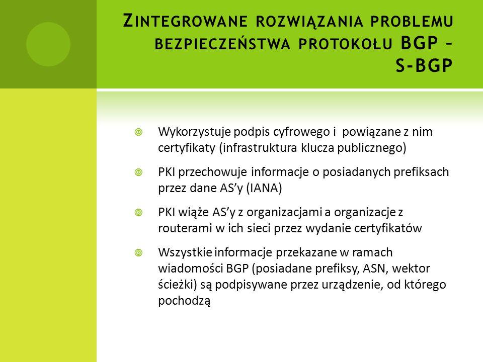 Z INTEGROWANE ROZWIĄZANIA PROBLEMU BEZPIECZEŃSTWA PROTOKOŁU BGP – S-BGP  Wykorzystuje podpis cyfrowego i powiązane z nim certyfikaty (infrastruktura klucza publicznego)  PKI przechowuje informacje o posiadanych prefiksach przez dane AS'y (IANA)  PKI wiąże AS'y z organizacjami a organizacje z routerami w ich sieci przez wydanie certyfikatów  Wszystkie informacje przekazane w ramach wiadomości BGP (posiadane prefiksy, ASN, wektor ścieżki) są podpisywane przez urządzenie, od którego pochodzą