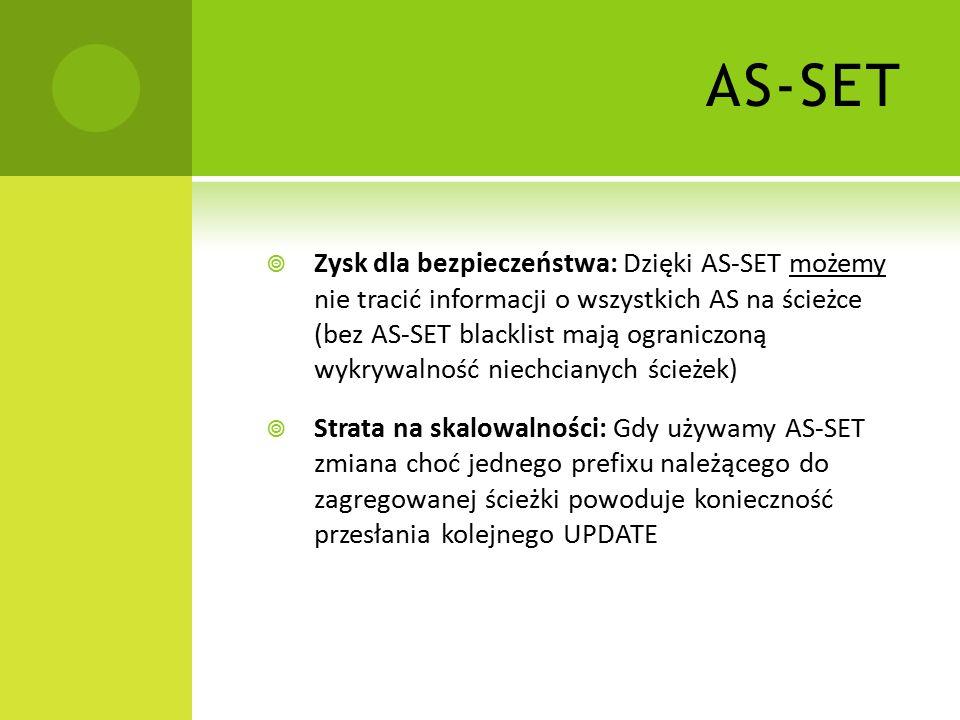  Zysk dla bezpieczeństwa: Dzięki AS-SET możemy nie tracić informacji o wszystkich AS na ścieżce (bez AS-SET blacklist mają ograniczoną wykrywalność niechcianych ścieżek)  Strata na skalowalności: Gdy używamy AS-SET zmiana choć jednego prefixu należącego do zagregowanej ścieżki powoduje konieczność przesłania kolejnego UPDATE