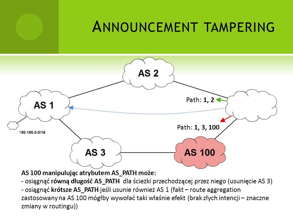 A NNOUNCEMENT TAMPERING Path: 1, 2 Path: 1, 3, 100 AS 100 manipulując atrybutem AS_PATH może: - osiągnąć równą długość AS_PATH dla ścieżki przechodzącej przez niego (usunięcie AS 3) - osiągnąć krótsze AS_PATH jeśli usunie również AS 1 (fakt – route aggregation zastosowany na AS 100 mógłby wywołać taki właśnie efekt (brak złych intencji – znaczne zmiany w routingu))