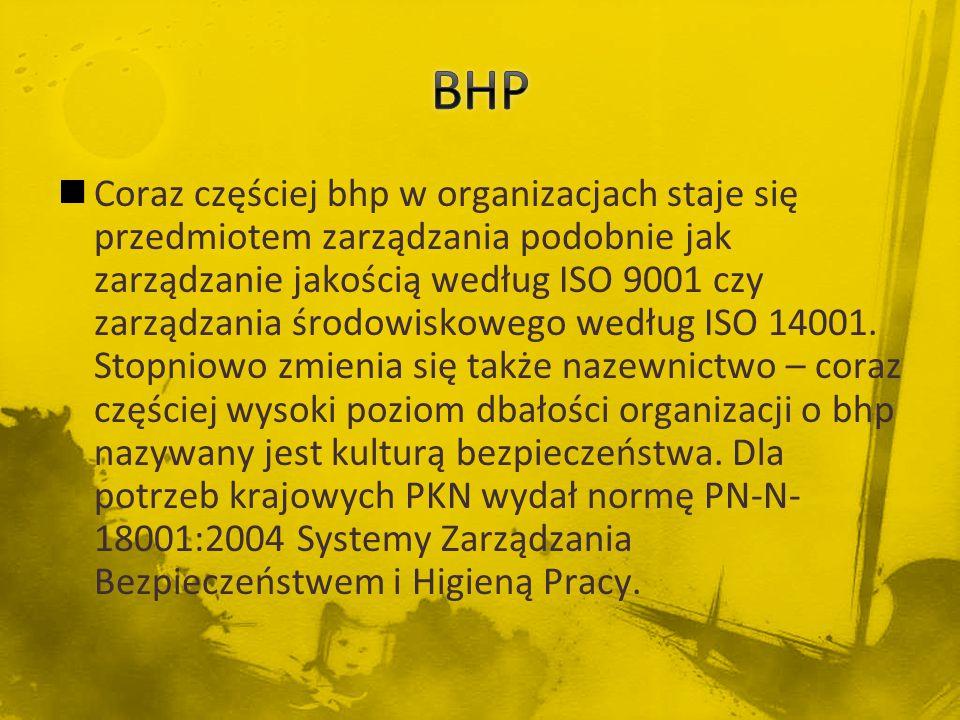 Coraz częściej bhp w organizacjach staje się przedmiotem zarządzania podobnie jak zarządzanie jakością według ISO 9001 czy zarządzania środowiskowego