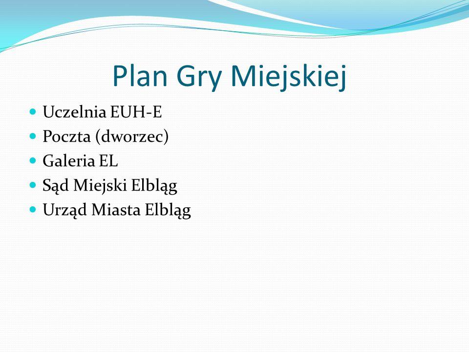 Plan Gry Miejskiej Uczelnia EUH-E Poczta (dworzec) Galeria EL Sąd Miejski Elbląg Urząd Miasta Elbląg