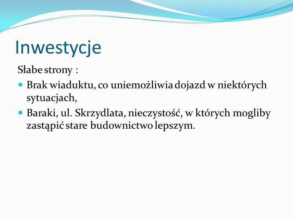 Inwestycje Słabe strony : Brak wiaduktu, co uniemożliwia dojazd w niektórych sytuacjach, Baraki, ul.