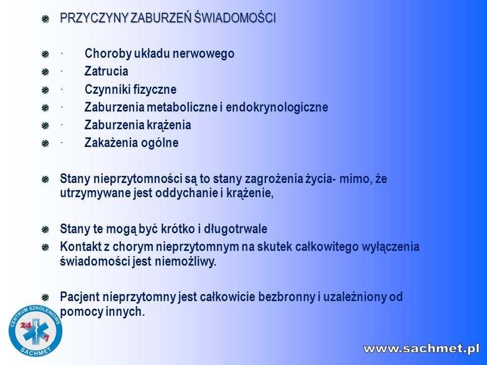 PRZYCZYNY ZABURZEŃ ŚWIADOMOŚCI · Choroby układu nerwowego · Zatrucia · Czynniki fizyczne · Zaburzenia metaboliczne i endokrynologiczne · Zaburzenia kr