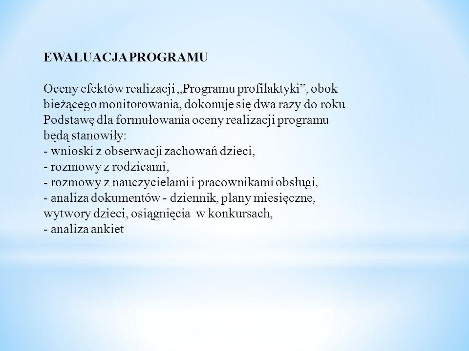 """EWALUACJA PROGRAMU Oceny efektów realizacji """"Programu profilaktyki"""", obok bieżącego monitorowania, dokonuje się dwa razy do roku Podstawę dla formułow"""