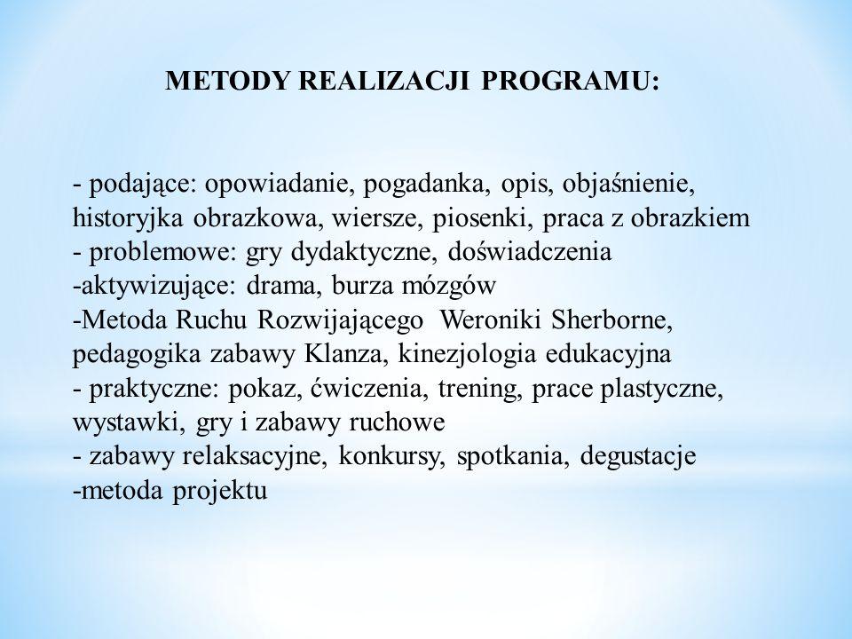 METODY REALIZACJI PROGRAMU: - podające: opowiadanie, pogadanka, opis, objaśnienie, historyjka obrazkowa, wiersze, piosenki, praca z obrazkiem - proble