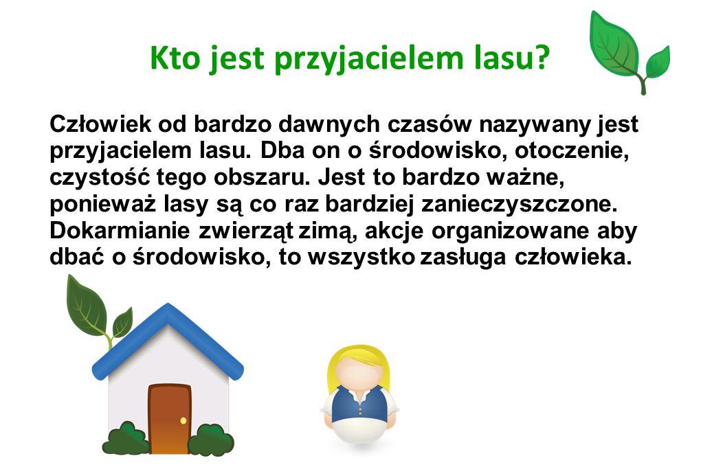 Kto jest przyjacielem lasu? Człowiek od bardzo dawnych czasów nazywany jest przyjacielem lasu. Dba on o środowisko, otoczenie, czystość tego obszaru.