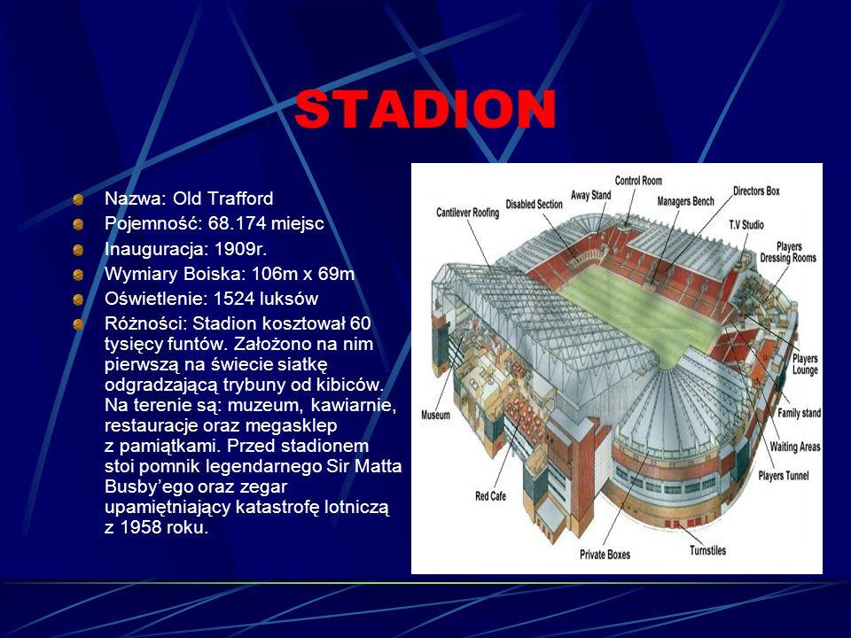 STADION Nazwa: Old Trafford Pojemność: 68.174 miejsc Inauguracja: 1909r.