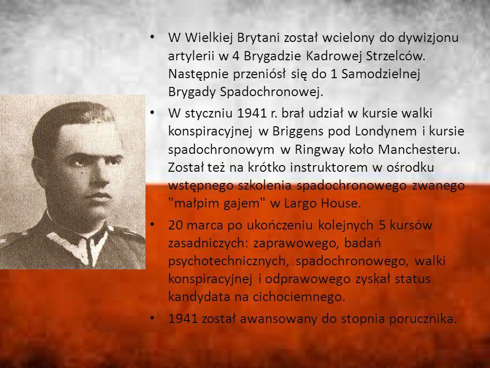 W Wielkiej Brytani został wcielony do dywizjonu artylerii w 4 Brygadzie Kadrowej Strzelców. Następnie przeniósł się do 1 Samodzielnej Brygady Spadochr
