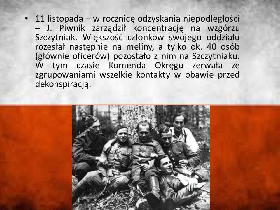 11 listopada – w rocznicę odzyskania niepodległości – J. Piwnik zarządził koncentrację na wzgórzu Szczytniak. Większość członków swojego oddziału roze