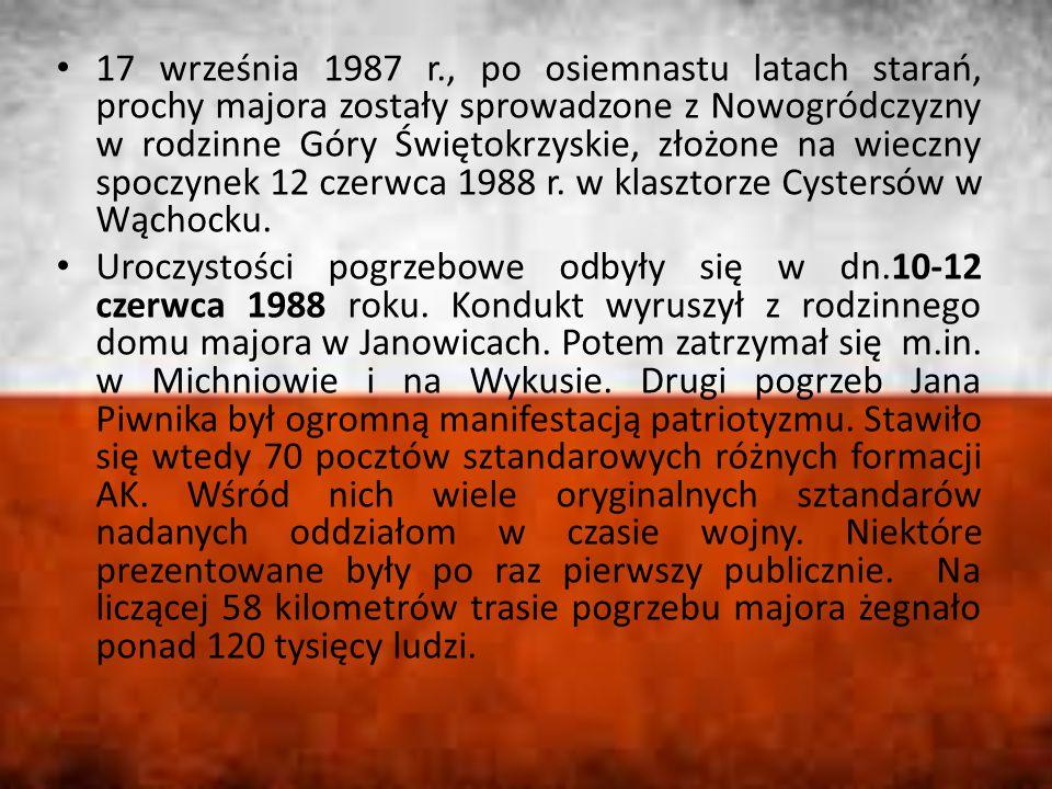 17 września 1987 r., po osiemnastu latach starań, prochy majora zostały sprowadzone z Nowogródczyzny w rodzinne Góry Świętokrzyskie, złożone na wieczny spoczynek 12 czerwca 1988 r.