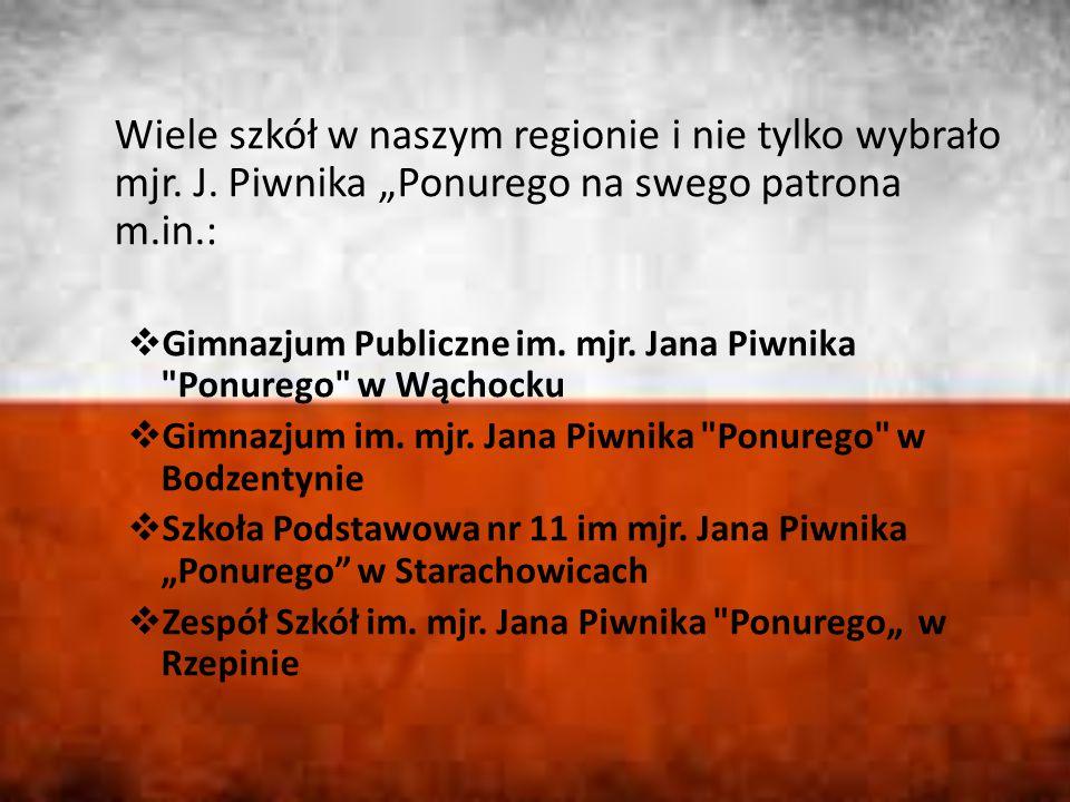 """Wiele szkół w naszym regionie i nie tylko wybrało mjr. J. Piwnika """"Ponurego na swego patrona m.in.:  Gimnazjum Publiczne im. mjr. Jana Piwnika"""