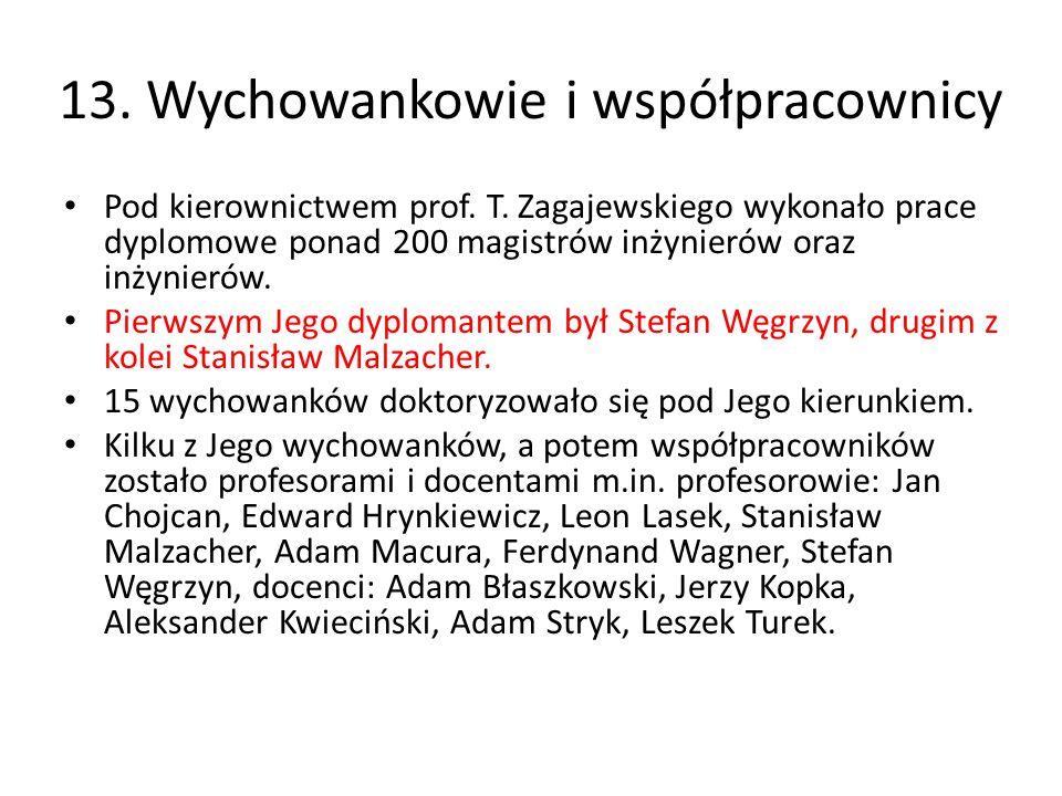 13. Wychowankowie i współpracownicy Pod kierownictwem prof. T. Zagajewskiego wykonało prace dyplomowe ponad 200 magistrów inżynierów oraz inżynierów.