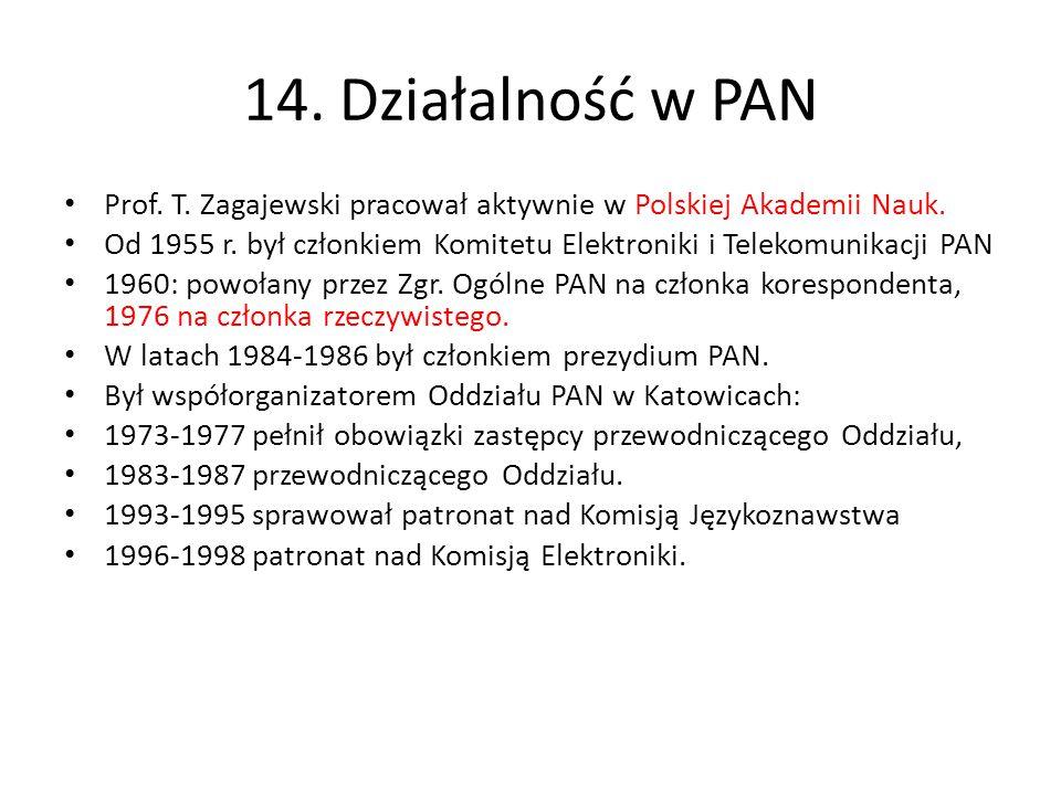 14. Działalność w PAN Prof. T. Zagajewski pracował aktywnie w Polskiej Akademii Nauk. Od 1955 r. był członkiem Komitetu Elektroniki i Telekomunikacji
